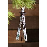 """Pack of 6 Rustic Skis and Poles Christmas Ornaments 9"""" - brown"""