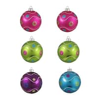 "6ct Colorful Matte Swirl Shatterproof Christmas Ball Ornaments 3.25"" (80mm) - multi"