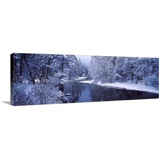 """Snow covered trees along a river, Yosemite National Park, California,"" Canvas Wall Art"