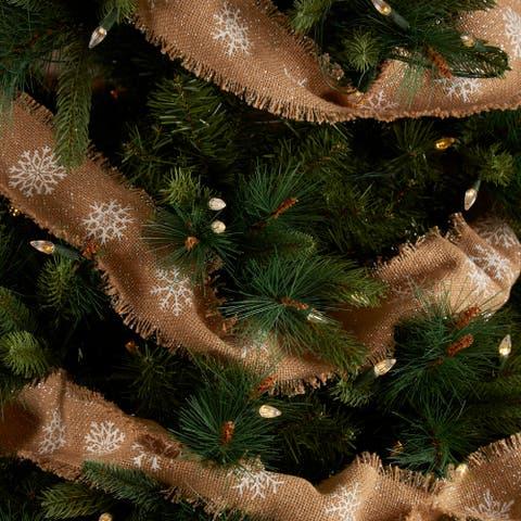 Snowflake Burlap Natural Garland Set of 3 9ft - Natural/Soft White/Silver - Garland 108x3