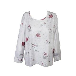 Style & Co Plus Size White Multi Polar Bear Embellished Sweatshirt X - 2x