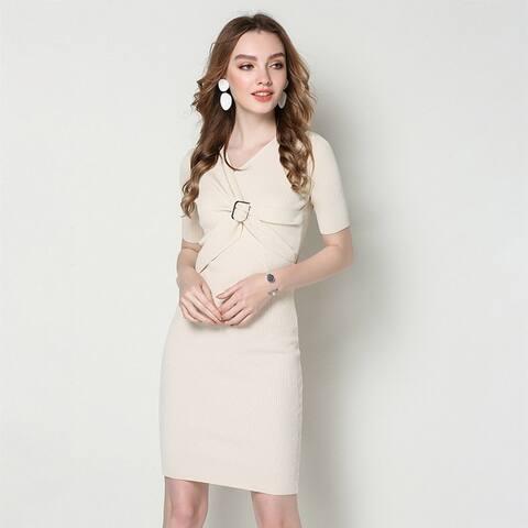 V Collar Women's Short Sleeved Elegant Knit Dress