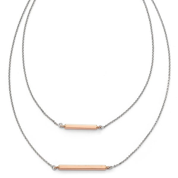 Italian Sterling Silver Fancy Double Rose Bar with 2in ext Necklace - 16 inches