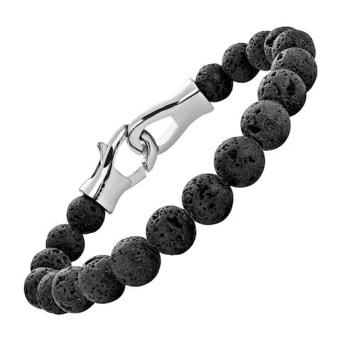"""Men's 10 mm Natural Onyx Beaded Bracelet in Stainless Steel, 8"""""""