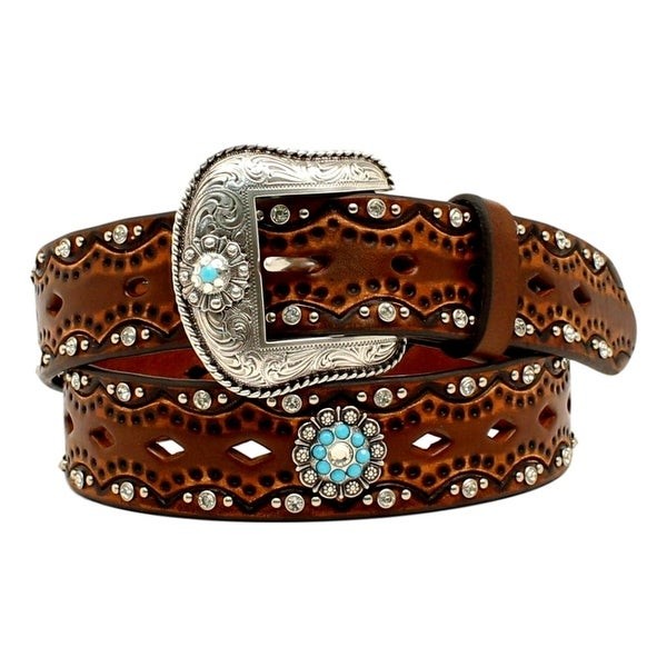 Ariat Western Belt Womens Scalloped Overlay Crystals Brown