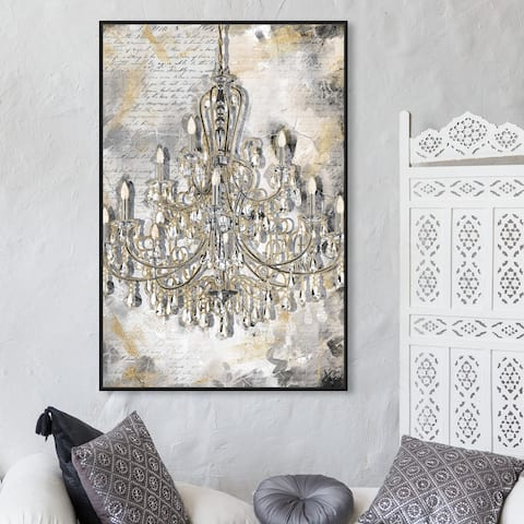 Oliver Gal 'Calligraphy Chandelier' Fashion and Glam Wall Art Framed Canvas Print Chandeliers - Gold, Gray