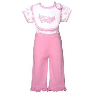 Mon Cheri White Pink Cutie Pie Bow 3 Pc Layette Bib Set Baby Girl 0-3M (3 options available)