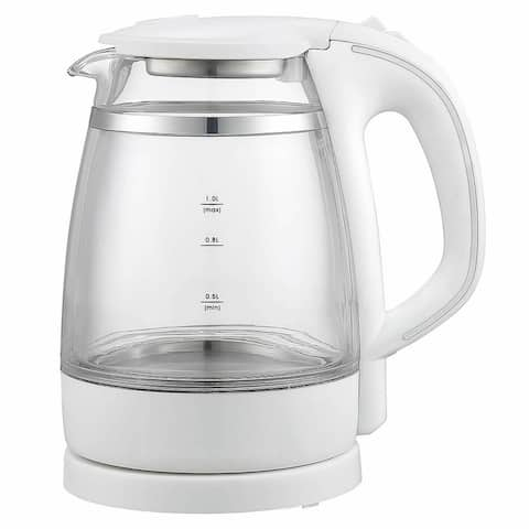 Quick-Boil Double Wall Glass 1.0L Electric Kettle, White