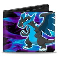 Mega Charizard Pose Flames Black Blues Bi Fold Wallet - One Size Fits most