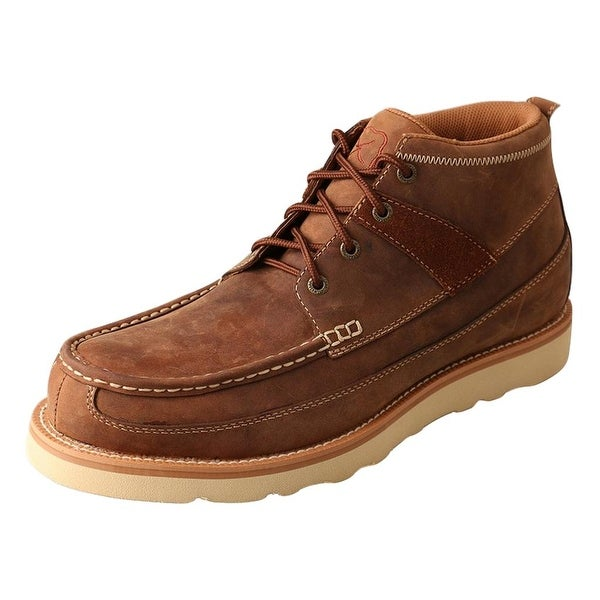 Twisted X Casual Shoes Mens Full Lace Up Red Buckle Moc Brown