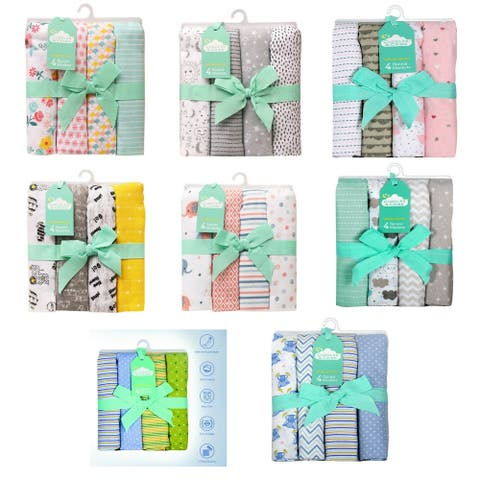 Cuddles & Cribs 4 Pack Baby Receiving Blankets - 30 by 30 inch