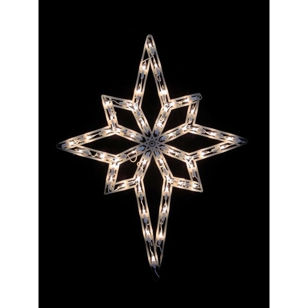 "18"" Lighted Star of Bethlehem Christmas Window Silhouette Decoration (Pack of 4) - WHITE"