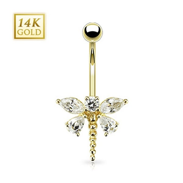 """14 Karat Solid Yellow Gold Marquise Teardrop CZ Dragonfly Navel Belly Button Ring - 14GA 3/8"""" Long"""