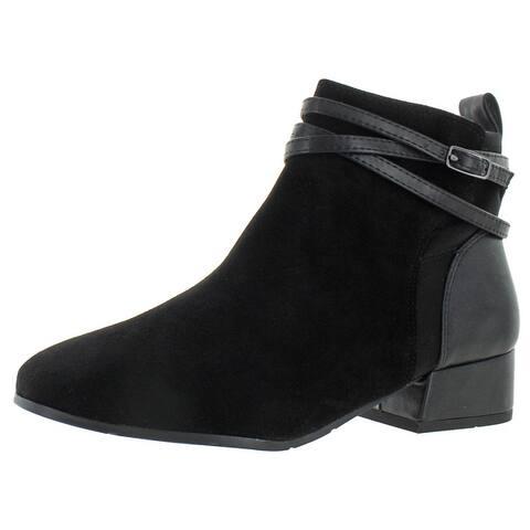 Easy Spirit Dae Women's Suede Block Heel Casual Block Heel Ankle Bootie