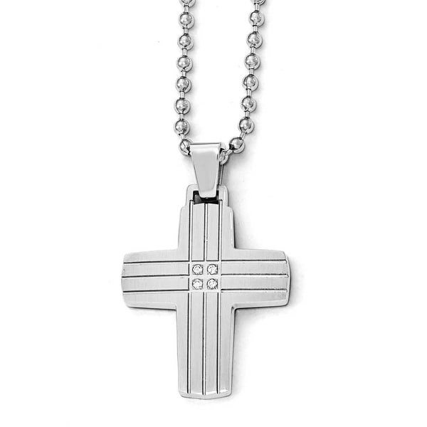 Chisel Stainless Steel Polished and Brushed CZ Cross Necklace - 22 in