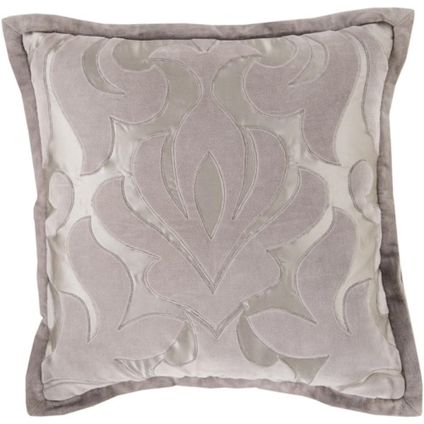 "18"" Light Gray Velvet Floral Square Throw Pillow with Sewn Seam Closure"