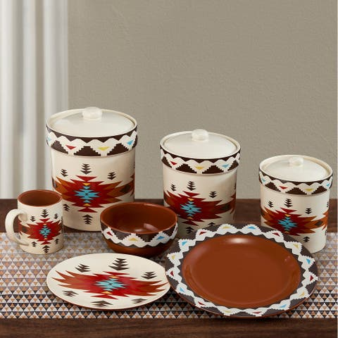 HiEnd Accents Del Sol Aztec 19 PC Southwestern Dinnerware and Canister Set