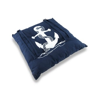 Tie-On Blue and White Nautical Rope and Anchor Chair Pad