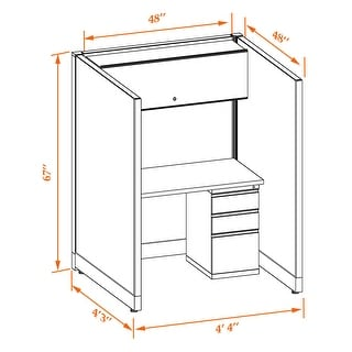 Tall Cubicles 67H Unpowered (4x4 - Espresso Desk Silver Paint - Assembly Required)