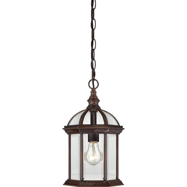 "Nuvo Lighting 60/4978 Boxwood 1-Light 8"" Wide Outdoor Mini Pendant with Clear Glass Shade - Rustic Bronze - N/A"