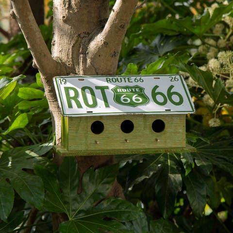"Glitzhome 14""L Wood/Metal Green Licence Plates Birdhouse"