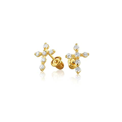 Tiny Minimalist Cubic Zirconia Religious Christian CZ Cross Stud Earrings For Women For Teen Real 14K Gold Screwback