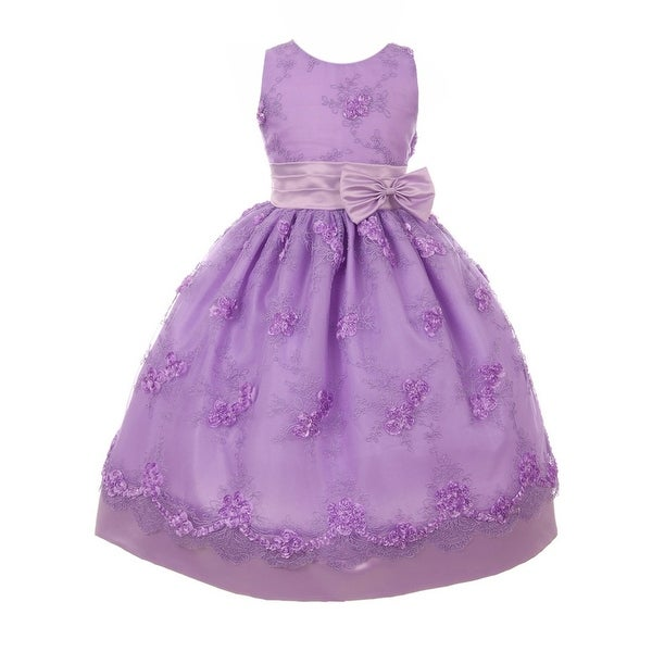 cb1a019130 Shop Little Girls Lilac Mesh Embroidered Bow Flower Girl Dress - Free  Shipping Today - Overstock - 23078092