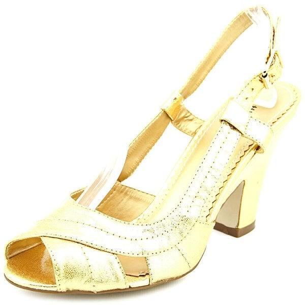Chinese Laundry PACE Women  Peep-Toe Leather Gold Slingback Heel