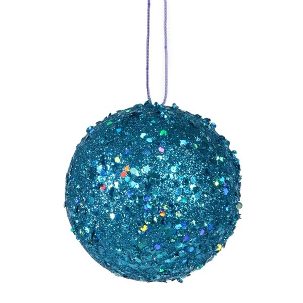 """Fancy Blue Holographic Glitter Drenched Christmas Ball Ornament 4"""" (100mm)"""