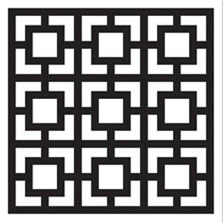 "Square Revival - FolkArt Painting Stencil 8.5""X10"""