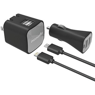 DigiPower DGPISPK2MLB InstaSense 2.4-Amp Dual-Port USB Car Charger & Wall Charger with 5ft Lightning & Micro USB Cables
