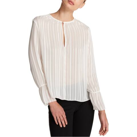 DKNY Womens Striped Knit Blouse, White, Large