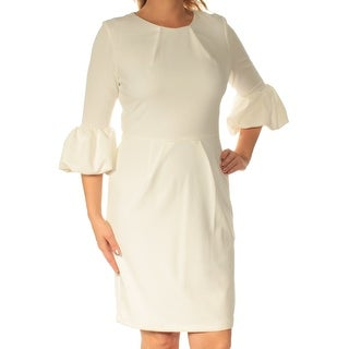 Womens White 3/4 Sleeve Above The Knee Sheath Casual Dress Size: 12