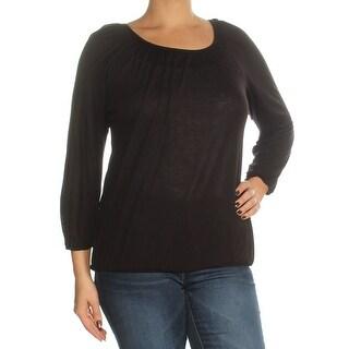 Womens Black 3/4 Sleeve Scoop Neck Top Size L