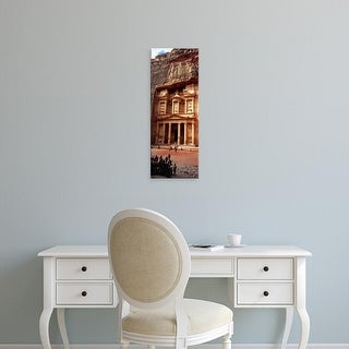 Easy Art Prints Panoramic Images's 'Tourist at an ancient building, Khaznet, Petra, Jordan' Premium Canvas Art