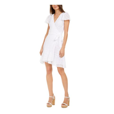MICHAEL KORS White Short Sleeve Above The Knee Dress L