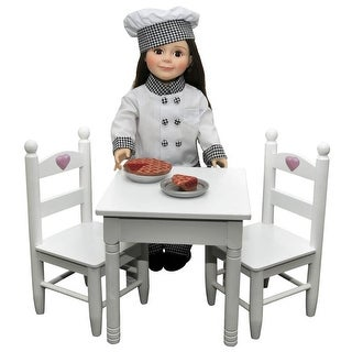 White Wooden Table & 2 Chairs, Furniture Fits 18 Inch American Girl Dolls