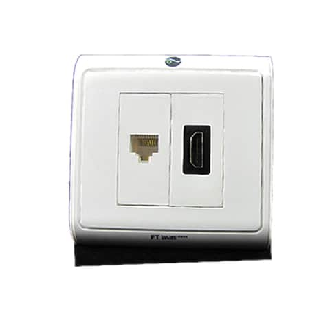 Unique Bargains Network Outlet Wall Plate for HDMI RJ45 Lan Connector White Cover