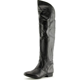 Chinese Laundry South Bay Women Round Toe Leather Black Over the Knee Boot