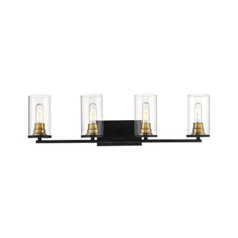 Burbank Bathroom Vanity Light in Matte Black/Heirloom Bronze- 4 Lights