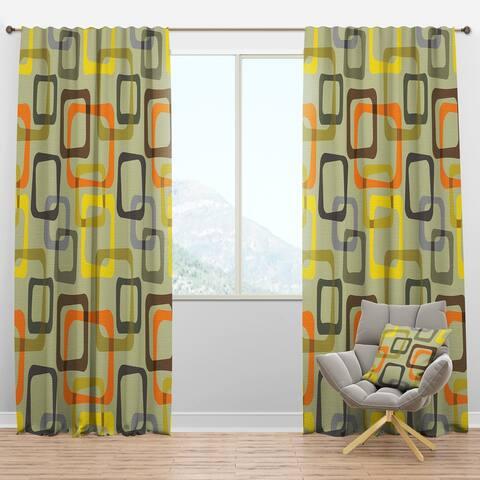 Designart 'Retro Square Design VII' Mid-Century Modern Blackout Curtain Panel