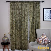 Handmade 100% Cotton Block Print Veggie Dye Curtain Panel Cotton Olive Green 46x84 Inches