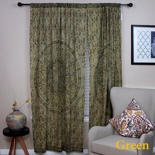 Handmade 100% Cotton Block Print Veggie Dye Curtain Panel Cotton Olive Green 46x84 Inches