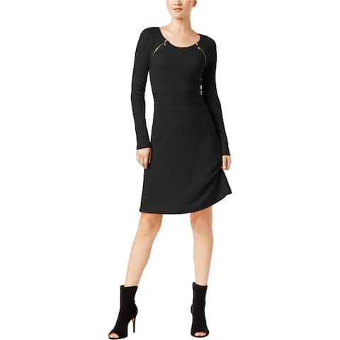 I-N-C Womens Zipper-Shoulder Shift Dress