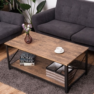 Costway Wood Coffee Table Cocktail Side Accent Table Metal Frame w/ Storage Shelf