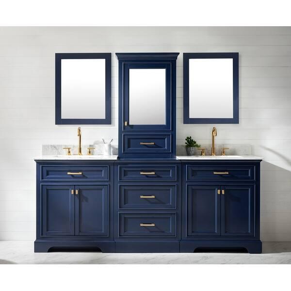 Milano 84 Double Sink Bathroom Vanity Modular Set In Blue Overstock 32184941