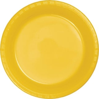 Club Pack of 600 School Bus Yellow Disposable Plastic Party Dinner Plates 8.75""