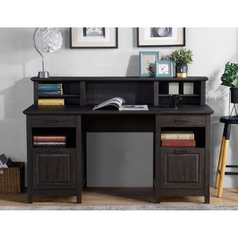 Black Oak Executive Storage Desk with Hutch