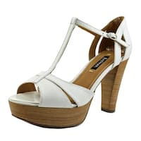 Kay Unger Garliste Women  Open Toe Leather White Platform Heel