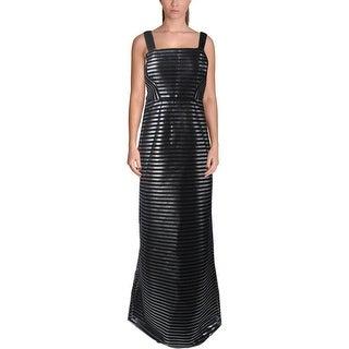 Phoebe Womens Evening Dress Shimmer Mesh Inset